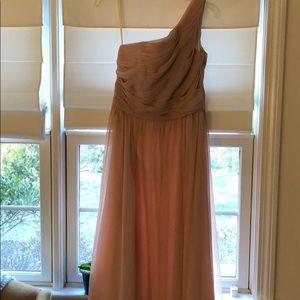 Blush one shoulder bridesmaid dress